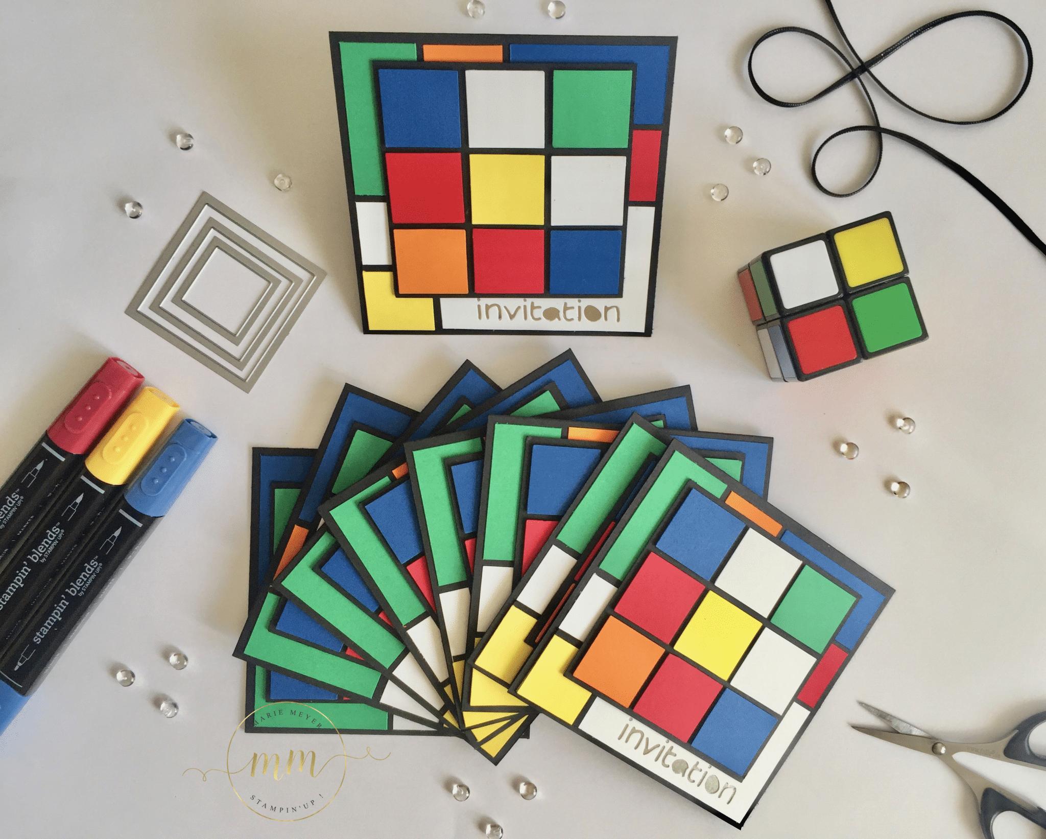 Carte Dinvitation Anniversaire Rubiks Cube Par Marie Meyer Stampin Up