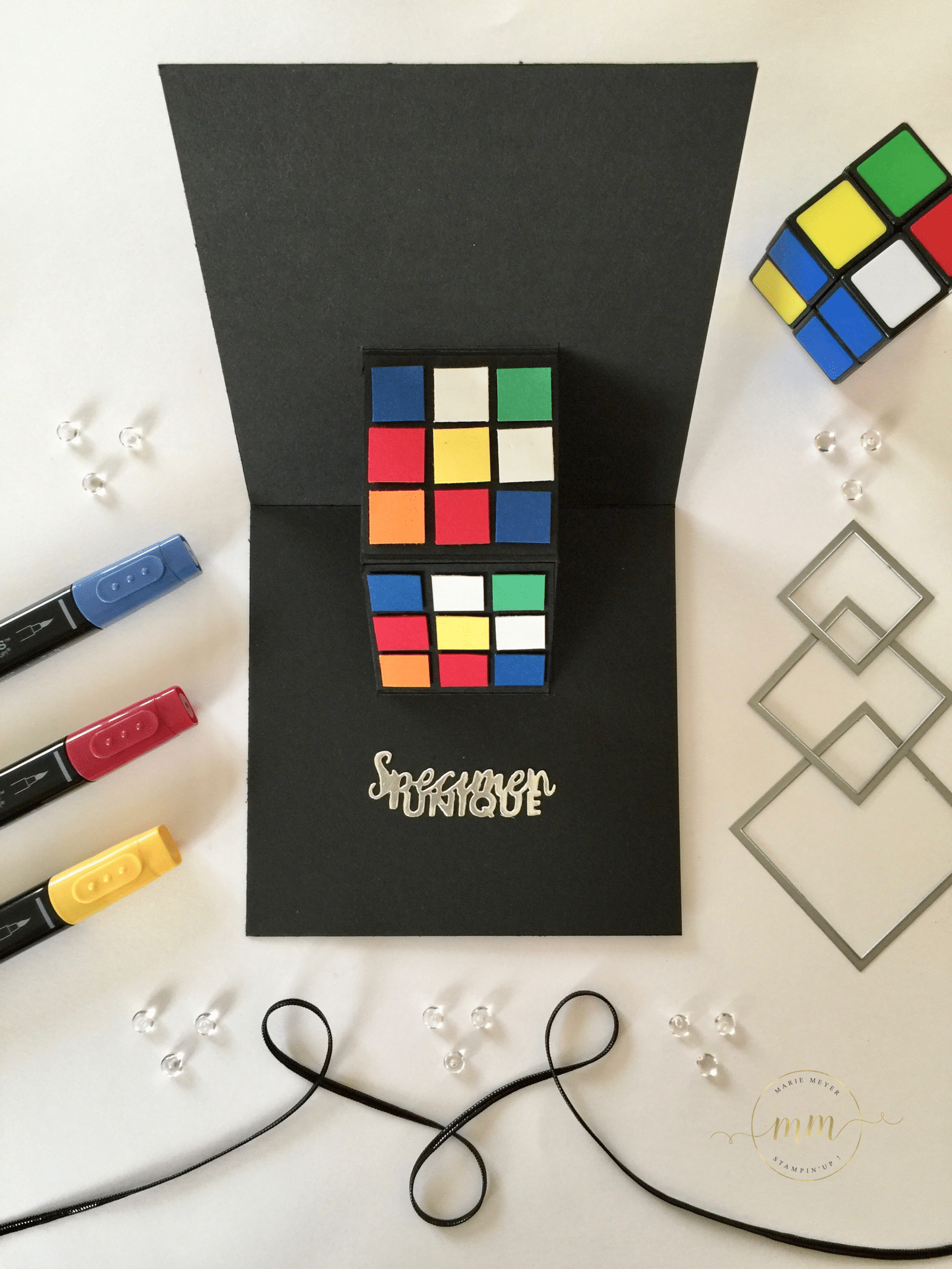 Carte Anniversaire Pop Up Rubiks Cube Et Son Tutoriel Par Marie Meyer Stampin