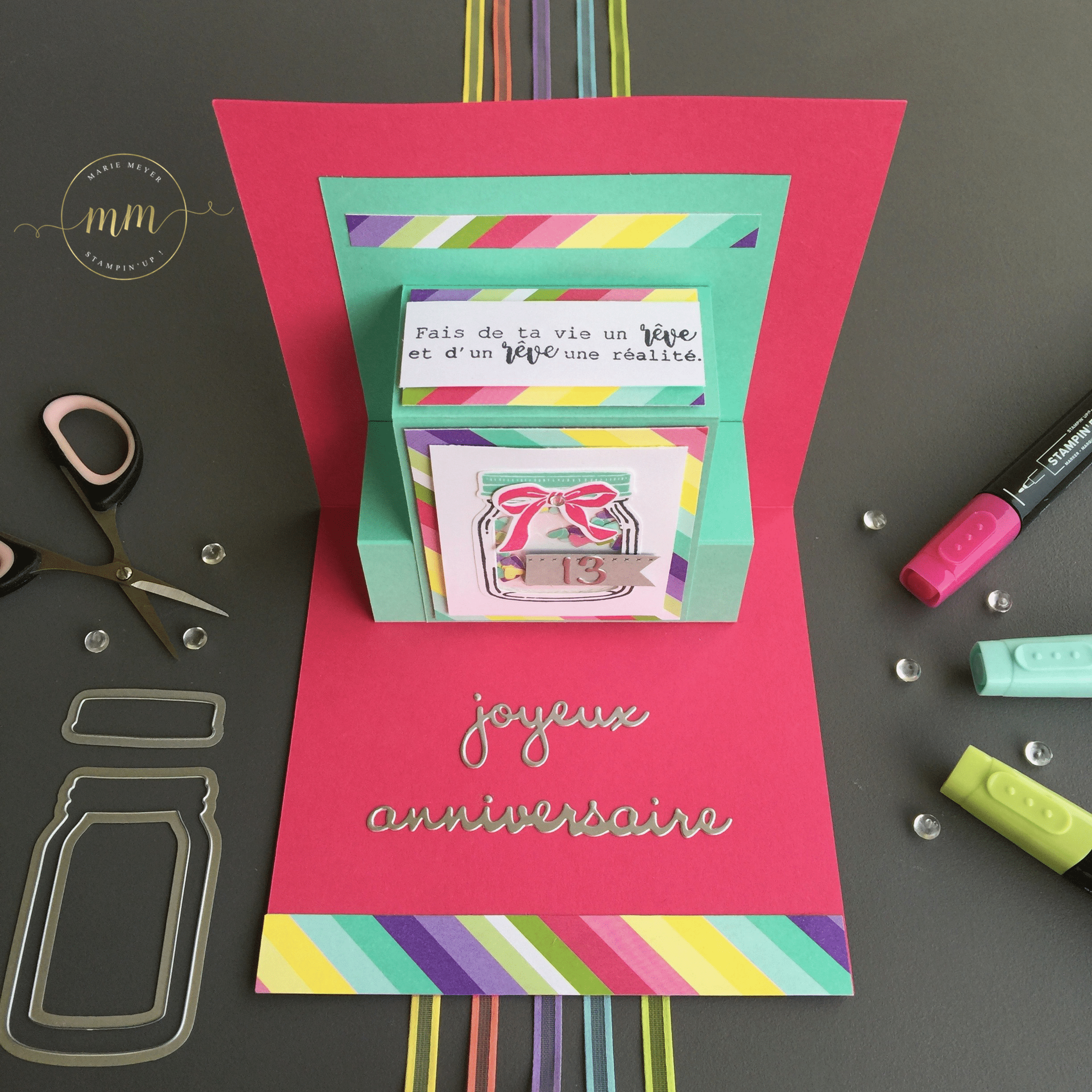 Ateliers Scrapbooking Fr Marie Meyer Demonstratrice Stampin Up France Carte D Anniversaire 13 Ans Alice Quel Delice
